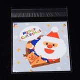 10 cellofaan zakjes met plakstrip kerstman rendier_