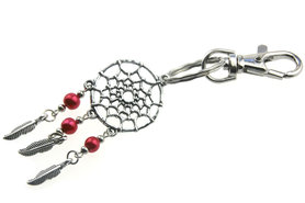 Sleutelhanger dromenvanger metaal met parel rood