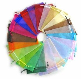 100 organza zakjes 5 x 7 cm kleurenmix
