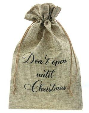 Jute zakje 20 x 30 cm don't open until christmas zwart