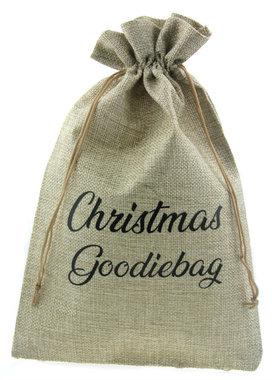 Jute zakje 20 x 30 cm Christmas goodiebag zwart