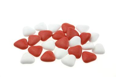 Bruidsuiker hartvormig mini mix Wit - Rood