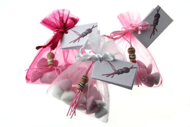 Geboortebedankje gelukspoppetje baby meisje met kaartje