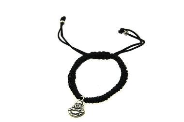 Armbandje zwart boeddha bedel