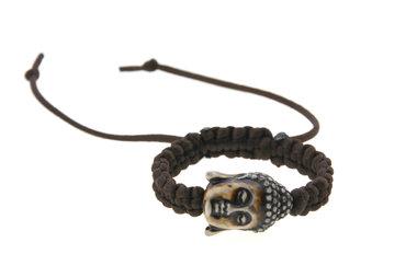 Armband geluk boeddha hoofd bruin