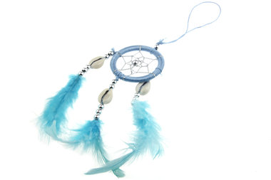 Dromenvanger 5 cm met schelpjes licht blauw