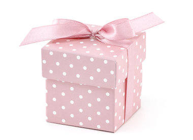 Doosje met deksel roze met witte stip