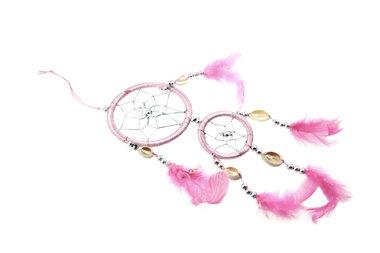 Dromenvanger 8 cm en 5 cm met schelpjes licht roze