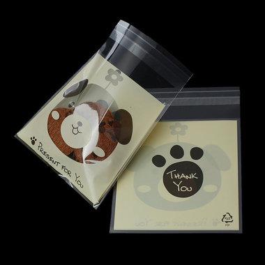 10 cellofaan zakjes met plakstrip hondje