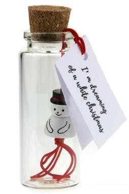 Geluksflesje sneeuwpop