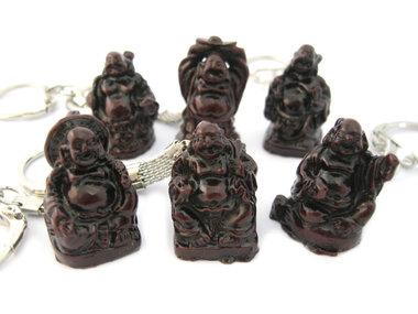 Sleutelhanger set 6 stuks lachende boeddha Rood 3 cm