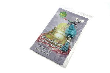 Sleutelhanger lachende boeddha turqoise met kwastje