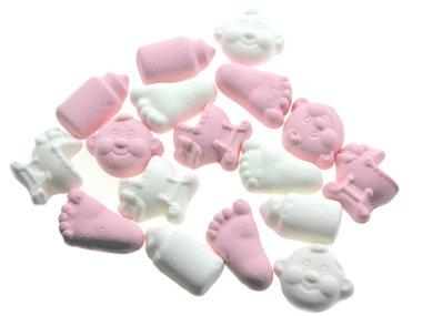 Geboortesnoepjes roze en wit