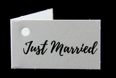 Kaartjes voor huwelijksbedankjes just married
