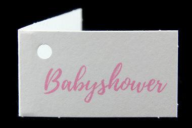 Kaartjes voor geboortebedankjes babyshower roze