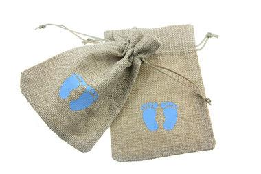 Jute zakjes babyvoetjes blauw 9.5 x 13.5 cm