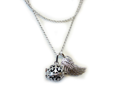 Ketting engelen roeper met vleugel en zwarte klankbal