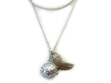 Ketting engelen roeper met vleugel en witte klankbal