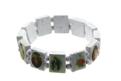 Geluksarmband heiligen afbeeldingen Wit