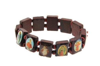 Geluksarmband heiligen afbeeldingen Bruin