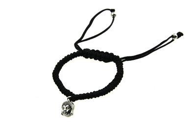 Armbandje zwart boeddha bedel 3D