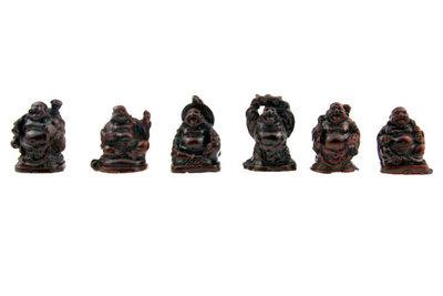 Set lachende boeddha Rood 3 cm