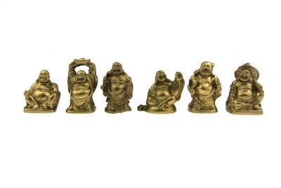 Set lachende boeddha Goud 5 cm