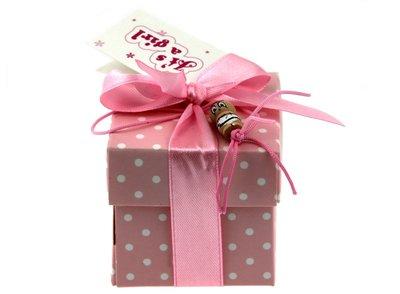 Geboortebedankje gelukspoppetjes roze doosje met stippen