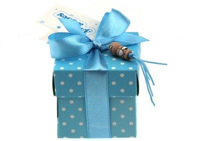 Geboortebedankje gelukspoppetjes blauw doosje met stippen