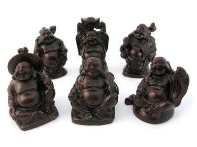 Set lachende boeddha Rood 5 cm