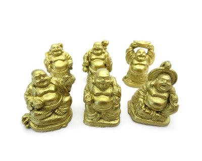 Set lachende boeddha Goud 3 cm