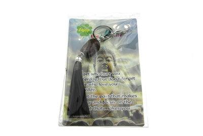 Sleutelhanger boeddha hoofd bruin met kwastje