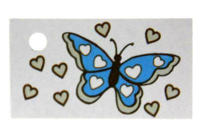 Kaartjes voor geboortebedankjes vlinder aqua