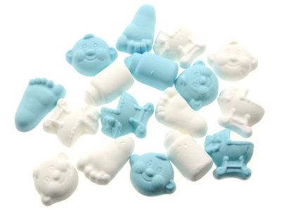 Geboortesnoepjes licht blauw en wit