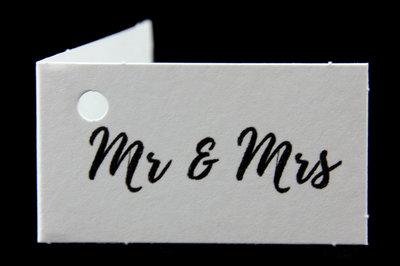 Kaartjes voor huwelijksbedankjes mr & mrs