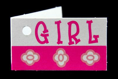 Kaartjes voor geboortebedankjes girl en bloemen