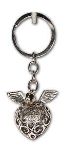 Sleutelhanger metaal engelenroeper zilver met belletje