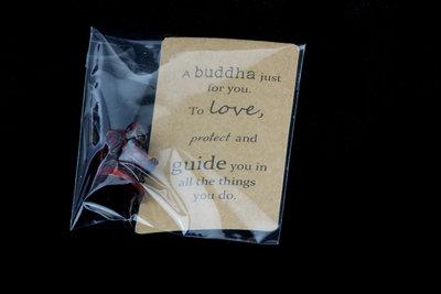 Gelukszakje kraft label tekst met boeddha 3 cm