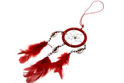 Dromenvanger 5 cm met schelpjes rood